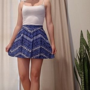 Blue Patterned Lightweight New Skirt